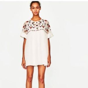 ZARA Romper Dress White embroidered XS